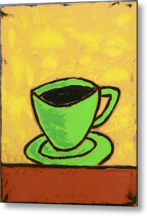 Coffee Metal Print featuring the painting Solo Coffee II by Ron York