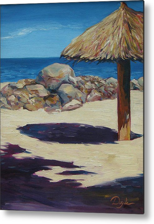 Ocean Metal Print featuring the painting Solo Palapa by Karen Doyle