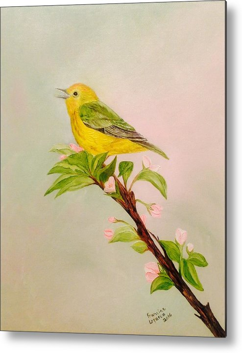 Songbird On Apple Blossom Metal Print featuring the painting Songbird by Francine Spagnuolo