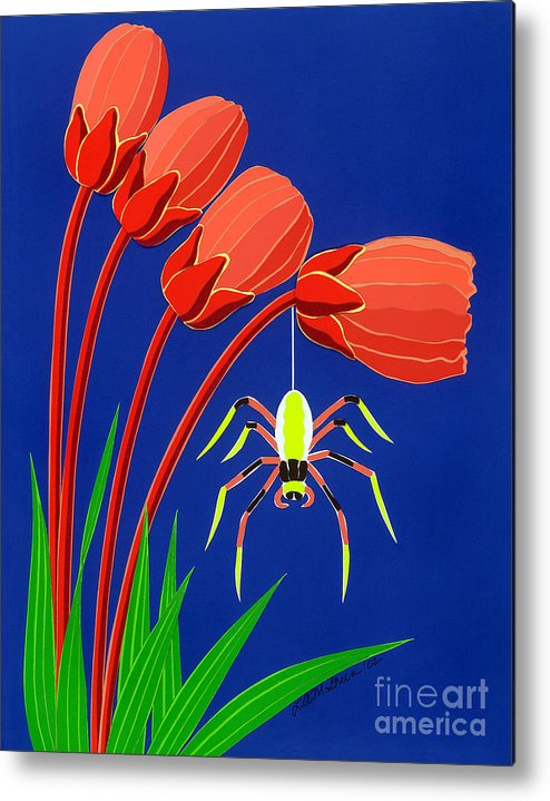 Nature Metal Print featuring the drawing Spider by Lucyna A M Green