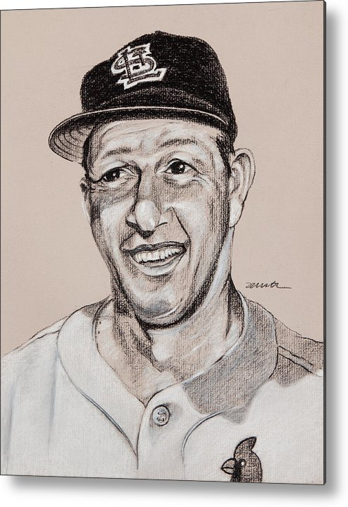 St. Louis Cardinals Metal Print featuring the drawing Stan The Man by Jim Wetherington