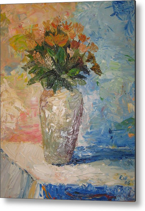 Still Life Vase Flowers Metal Print featuring the painting Still Life Flowers by Maria Kobalyan