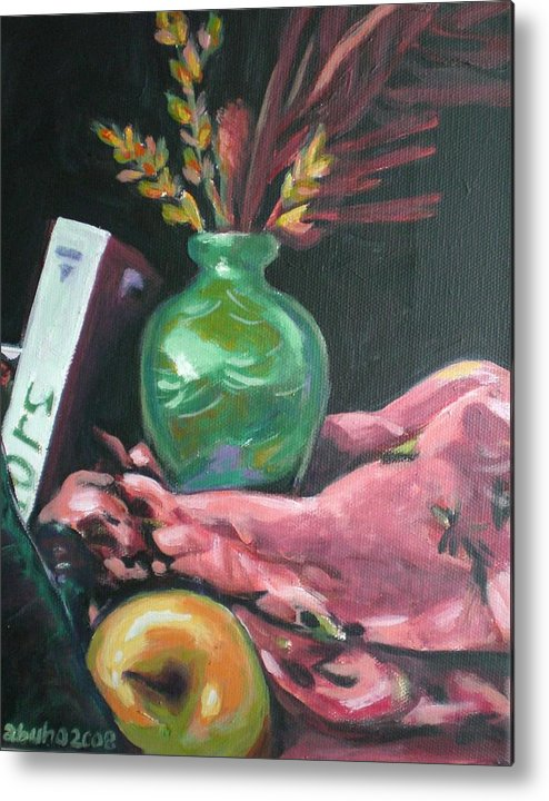 Apple Metal Print featuring the painting Still Life With Apple Book And Vase by Aleksandra Buha