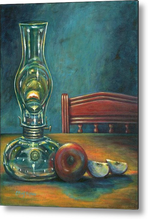 Lamp Metal Print featuring the painting Still Life With Apples by Colleen Maas-Pastore