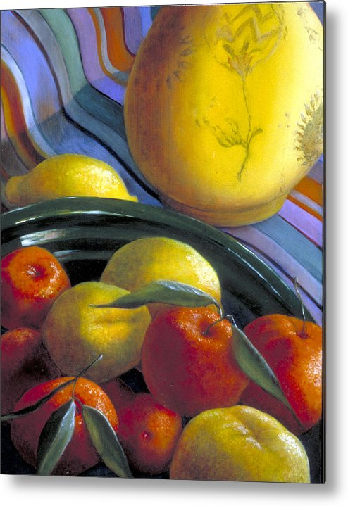 Oil Painting Metal Print featuring the painting Still Life With Citrus by Nancy Ethiel
