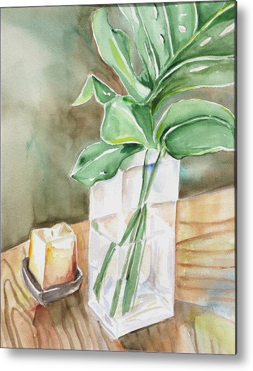 Still Life Metal Print featuring the painting Still Life With Leaf by Kathy Mitchell