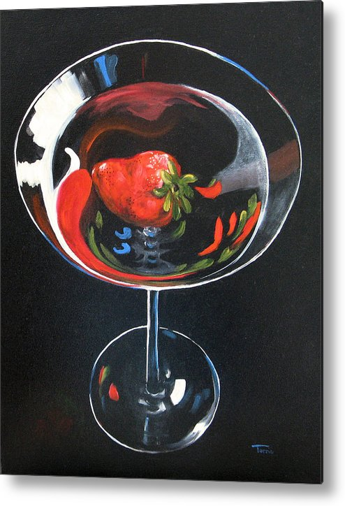 Bar Art Metal Print featuring the painting Strawberry Martini by Torrie Smiley