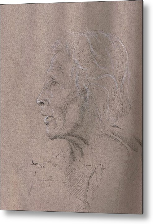 Portrait Metal Print featuring the drawing Study On The Day Of The Death by Victor Amor