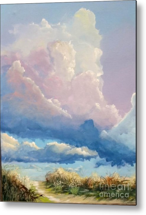 Landscape Metal Print featuring the painting Summer Clouds by John Wise