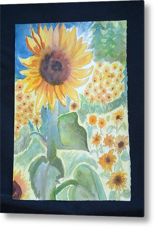 Sunflowers Metal Print featuring the painting Sunflower Sea by Margaret G Calenda