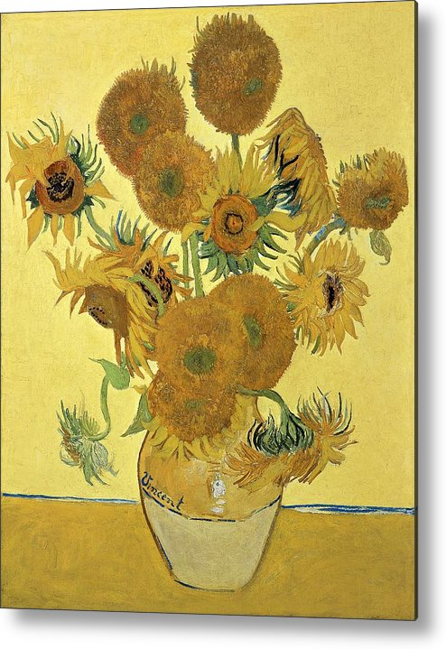 Sunflowers Metal Print featuring the painting Sunflowers by Vincent Van Gogh