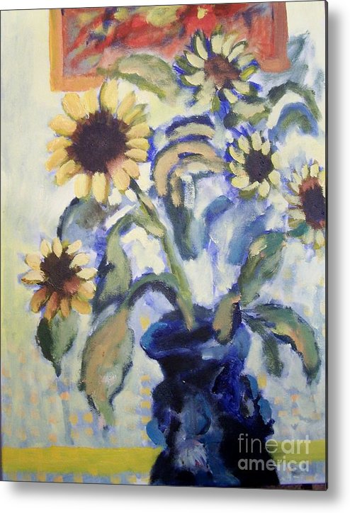 Flowers Metal Print featuring the painting Sunflowes by Geraldine Liquidano