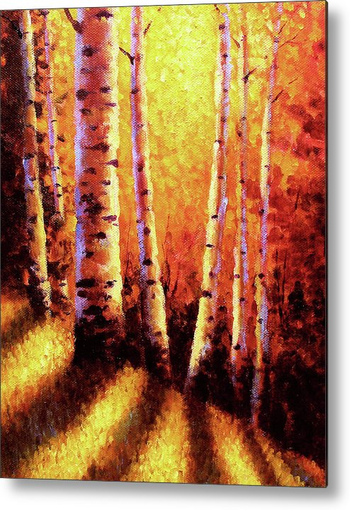 Sunlight Metal Print featuring the painting Sunlight Through The Aspens by David G Paul