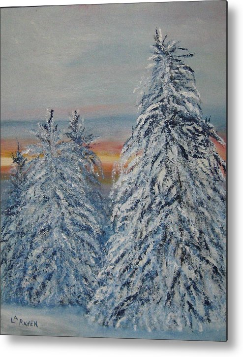 Landscape Metal Print featuring the painting Sunrise After Snow Storm by L A Raven