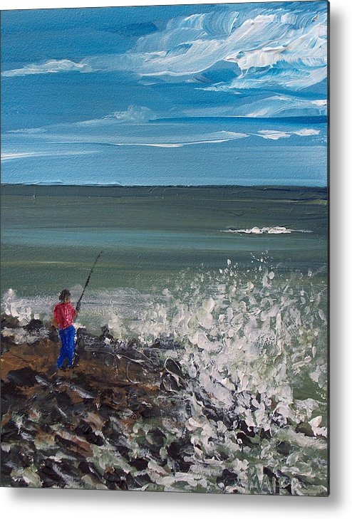Seascape Metal Print featuring the painting Surf Fishin by Pete Maier