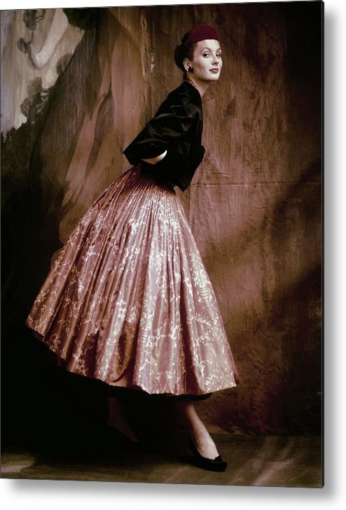 Accessories Metal Print featuring the photograph Suzy Parker In Givenchy Full Skirt by John Rawlings
