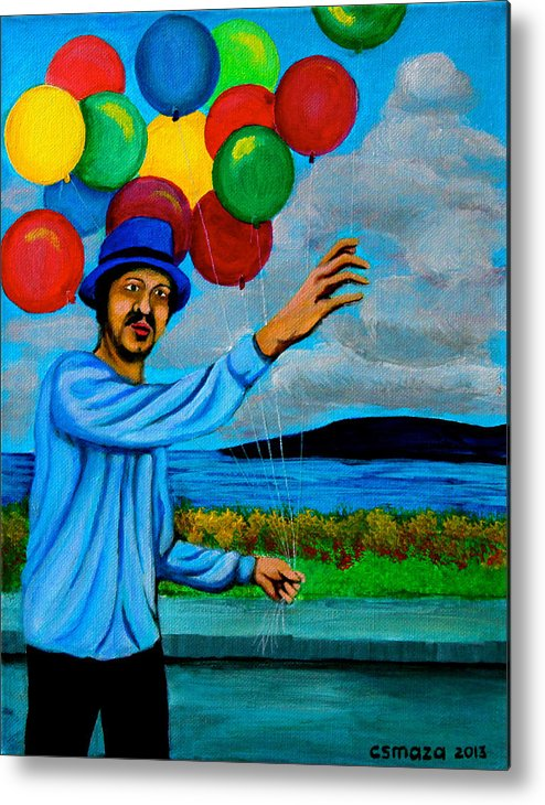 Balloon Metal Print featuring the painting The Balloon Vendor by Cyril Maza