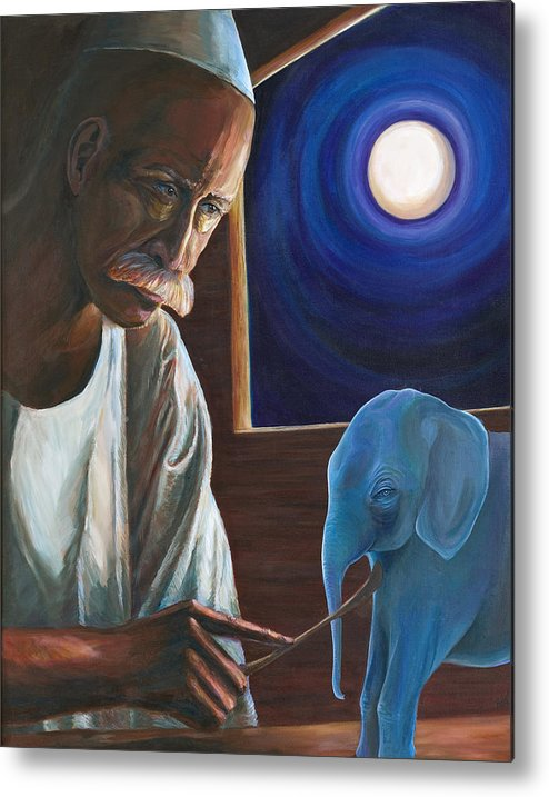 Mystical Portriat Metal Print featuring the painting The Carver by Kathleen Boyle Magnuson