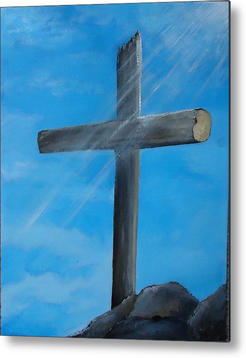 Cross Metal Print featuring the painting The Cross by Chris Collins