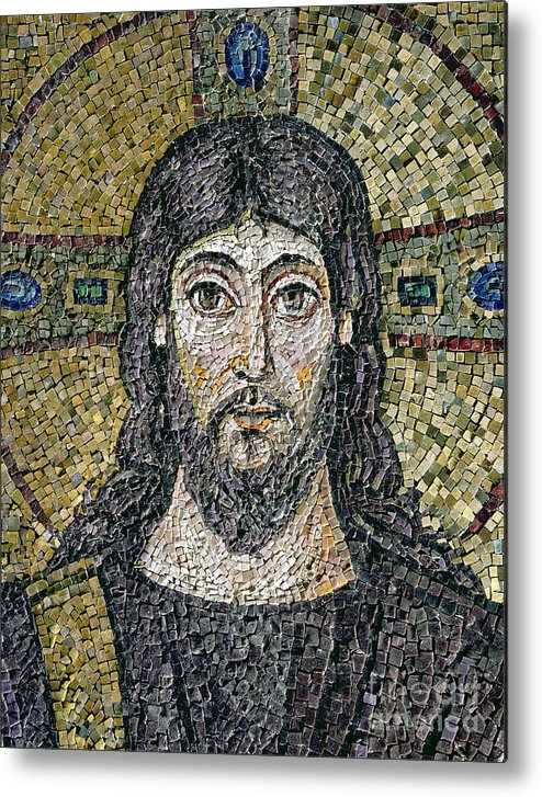 Christ Metal Print featuring the relief The Face Of Christ by Byzantine School