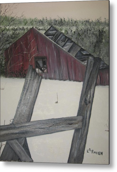 Metal Print featuring the painting The Falling Down Shed by L A Raven