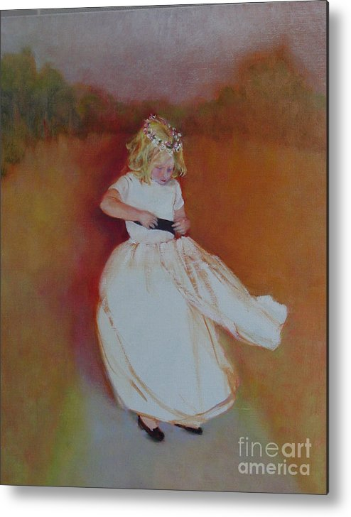 Contemporary Portrait Metal Print featuring the painting The Flower Girl Copyrighted by Kathleen Hoekstra