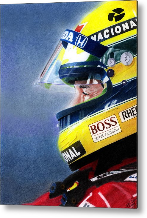 Formula One Racing Metal Print featuring the mixed media The Focus Of Ayrton by Lyle Brown