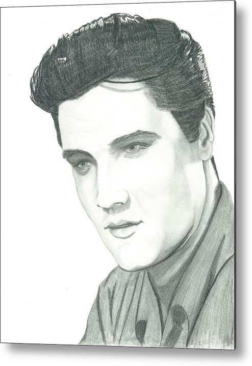 Elvis Metal Print featuring the drawing The King by Seventh Son