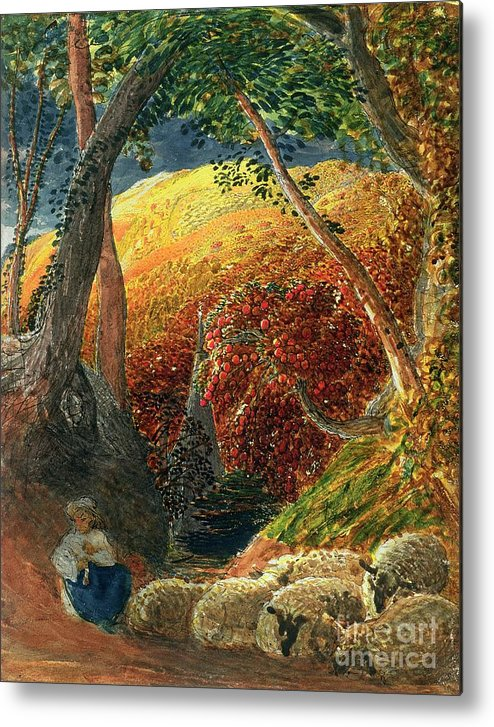 The Magic The Magic Apple Tree (indian Ink & W/c) By Samuel Palmer (1805-81) Metal Print featuring the painting The Magic Apple Tree by Samuel Palmer