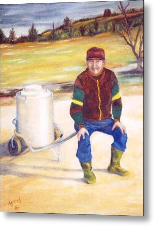 Milkman Metal Print featuring the painting The Milkman by Gloria M Apfel