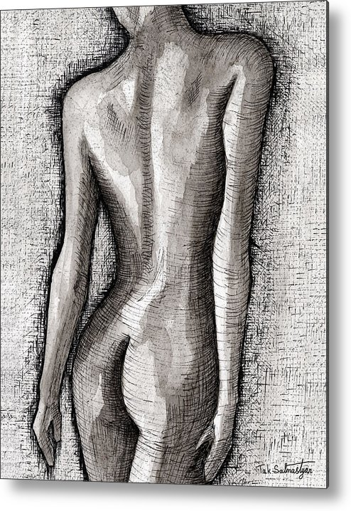Pop Art Metal Print featuring the painting The Nude Number One by Tak Salmastyan