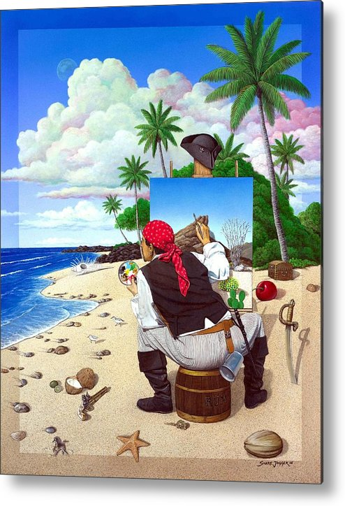 Pirate Metal Print featuring the painting The Painting Pirate by Snake Jagger