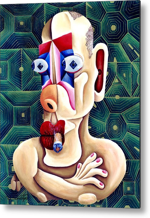 Pop Art Metal Print featuring the painting The Philosopher by Tak Salmastyan