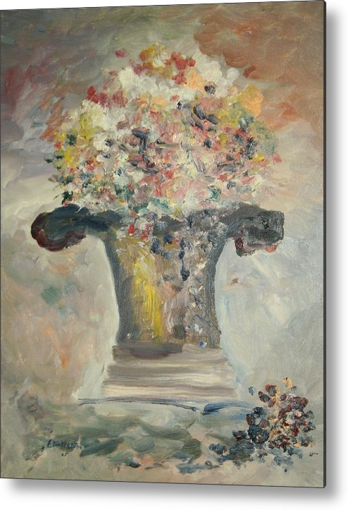 Still Life Metal Print featuring the painting The Piller Vase by Edward Wolverton