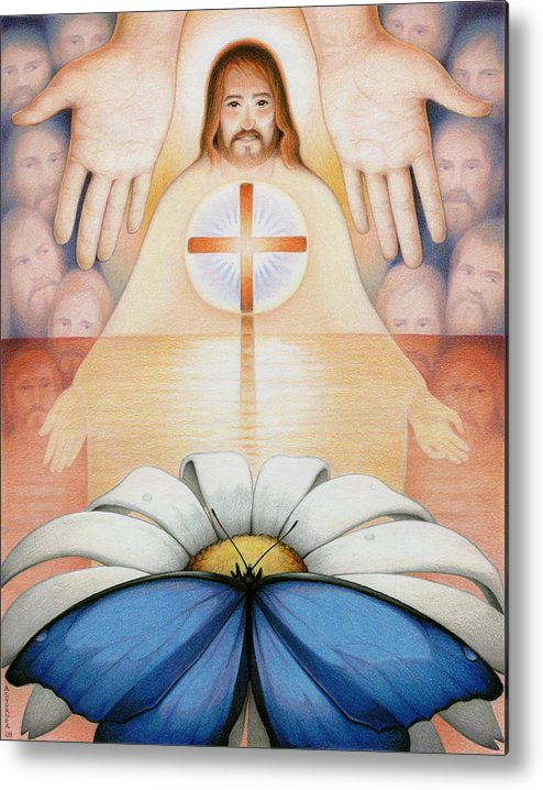 Jesus Metal Print featuring the drawing The Price And The Promise by Amy S Turner