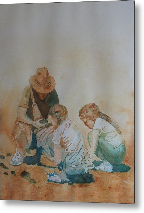Fathers Metal Print featuring the painting The Pumice Seekers by Jenny Armitage