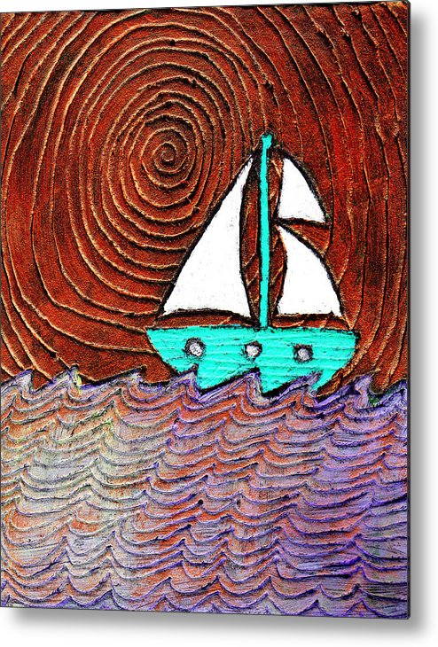 Sailing Metal Print featuring the painting The Sky Was Bronze That Night by Wayne Potrafka