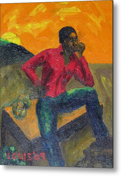 Caribbean Metal Print featuring the painting The Thinker by Louis Stephenson