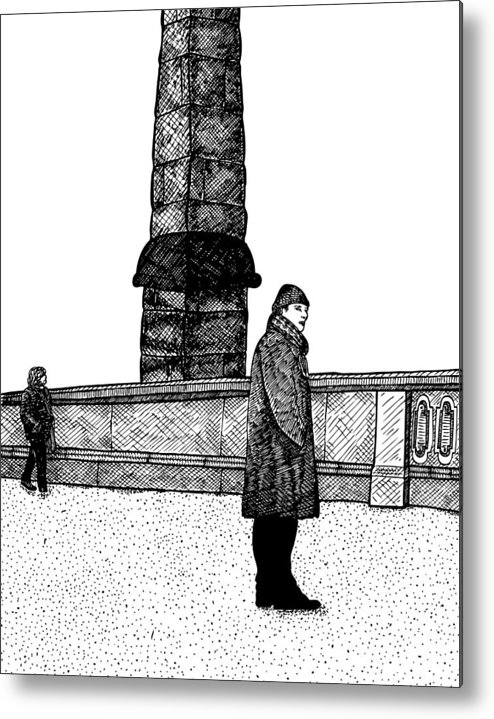 Drawing Metal Print featuring the drawing The Tower by Karl Addison