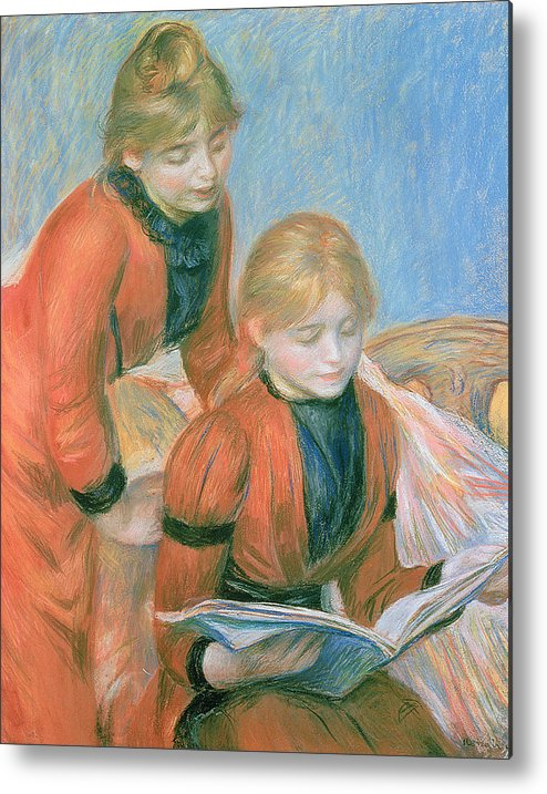The Metal Print featuring the pastel The Two Sisters by Pierre Auguste Renoir