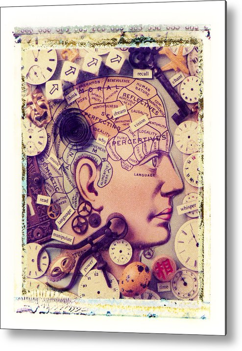 Thinking Think Thought Process Mind Brain Eye Lips Metal Print featuring the photograph Thinking by Garry Gay