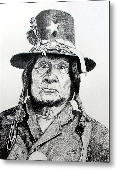 Indian Metal Print featuring the drawing Tosawi Comanche Chief by Stan Hamilton