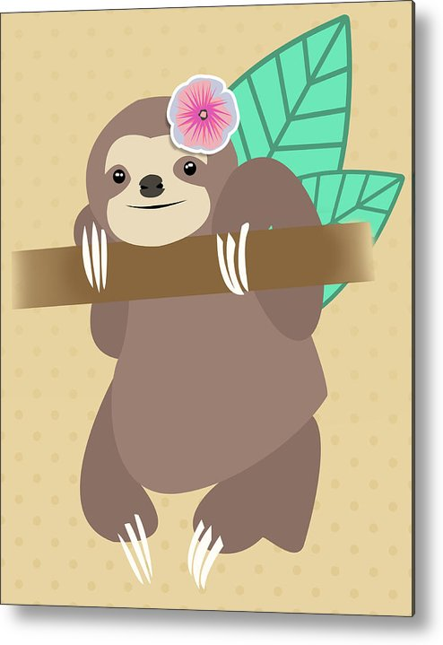 Beige Metal Print featuring the digital art Tropical Sloth Illustration by Pati Photography