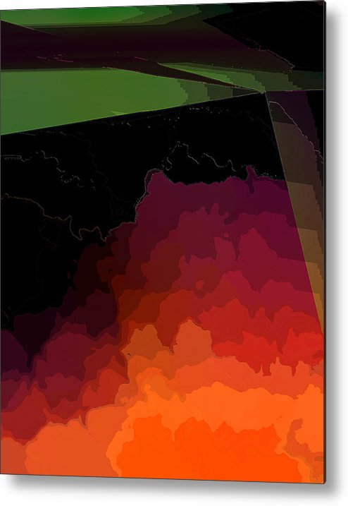 Abstract Metal Print featuring the digital art Turmoil Below Outlined by Ian MacDonald