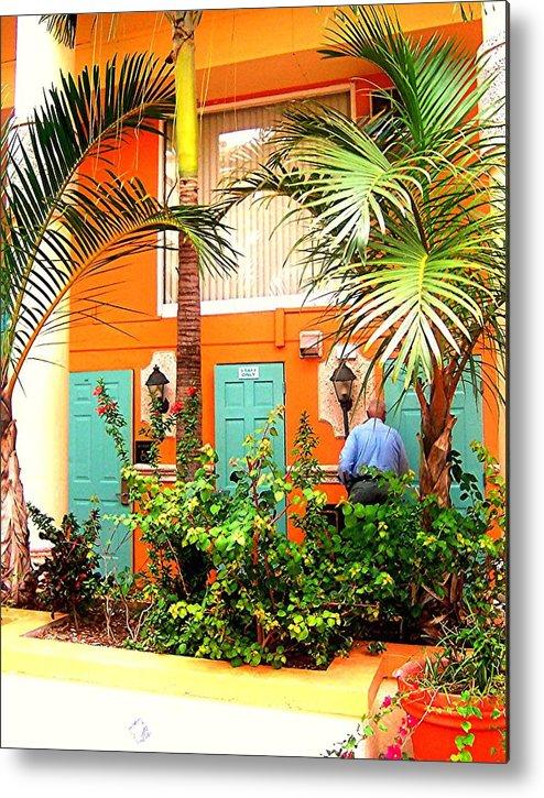 Palms Metal Print featuring the photograph Turqoise And Orange Edifice by Caroline Urbania Naeem