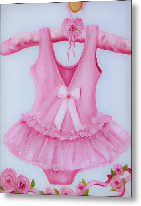 Oil Metal Print featuring the painting Tutu With Ribbon by Joni McPherson