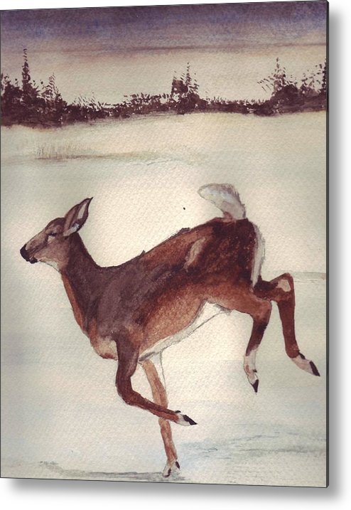 Whitetail Deer Metal Print featuring the painting Twilight Run by Debra Sandstrom