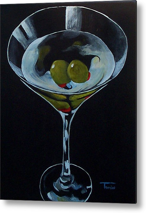 Martini Metal Print featuring the painting Two Olive Martini by Torrie Smiley