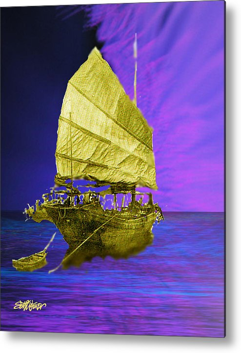 Nautical Metal Print featuring the digital art Under Golden Sails by Seth Weaver