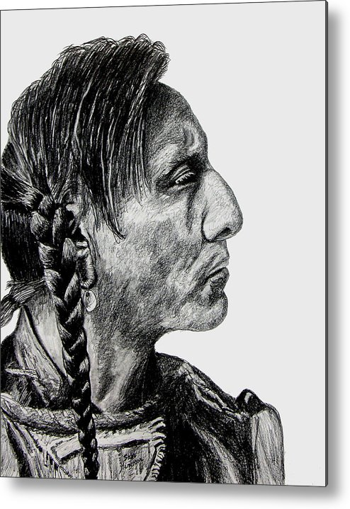 Indian Metal Print featuring the drawing Unknown Indian II by Stan Hamilton
